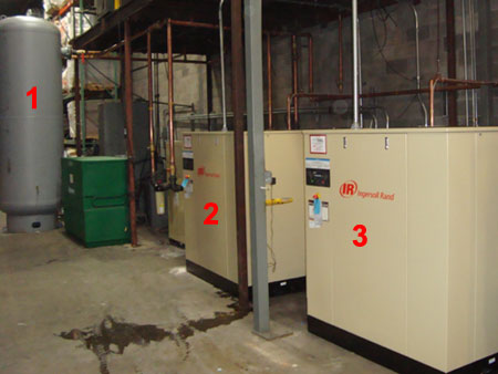 New York rebates for increasing the size of your compressed air storage tank, Energy Efficient Air Compressor System, Two 50 HP Ingersoll Rand Rotary Air Compressors in Modulation, NY Manufacturer has a reliable air compressor system,